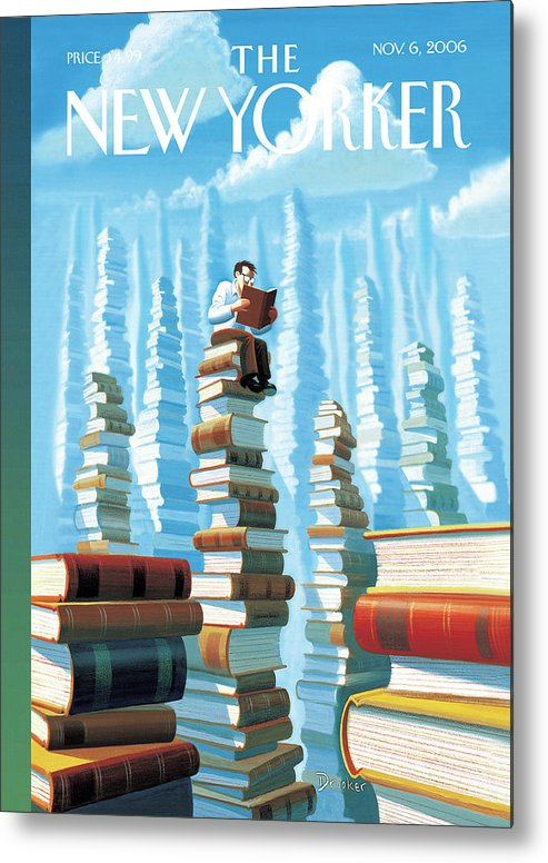 Books Metal Print featuring the painting Bookopolis by Eric Drooker