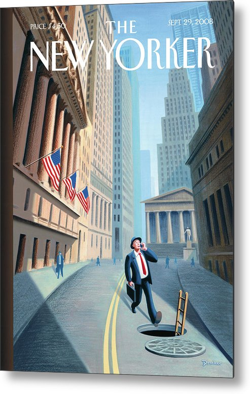 Wall Street Metal Print featuring the painting New Yorker September 29th, 2008 by Eric Drooker