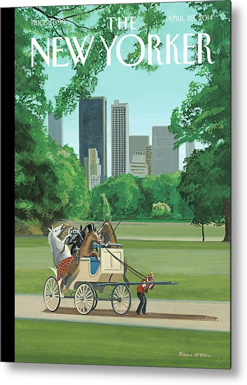 Horse Metal Print featuring the painting The Cart Before the Horses by Bruce McCall