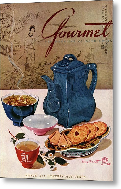 Food Metal Print featuring the photograph A Chinese Tea Pot With Tea And Cookies by Henry Stahlhut