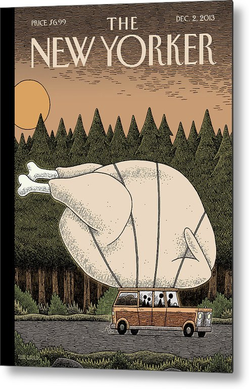 Thanksgiving Metal Print featuring the painting A Family Rides Home With A Giant Turkey Tied by Tom Gauld