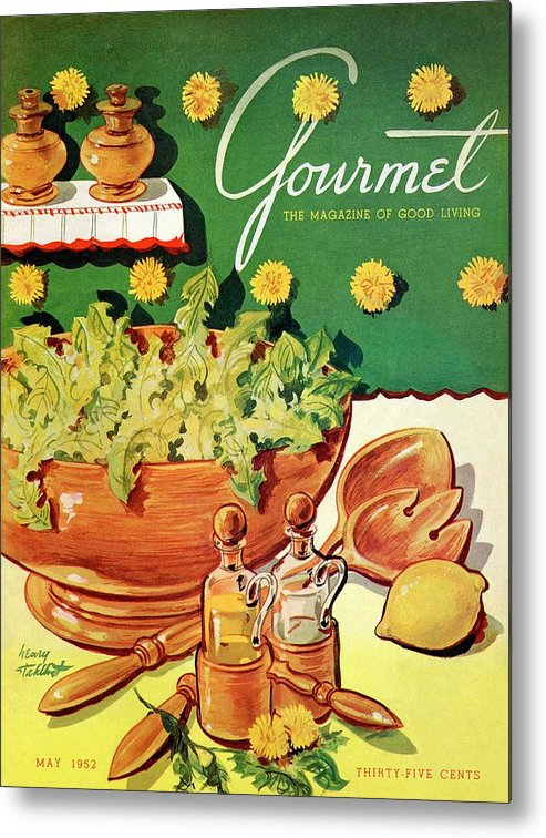Food Metal Print featuring the photograph A Gourmet Cover Of Dandelion Salad by Henry Stahlhut