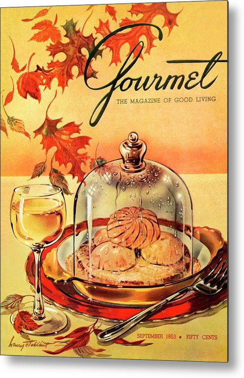 Illustration Metal Print featuring the photograph A Gourmet Cover Of Mushrooms On Toast by Henry Stahlhut