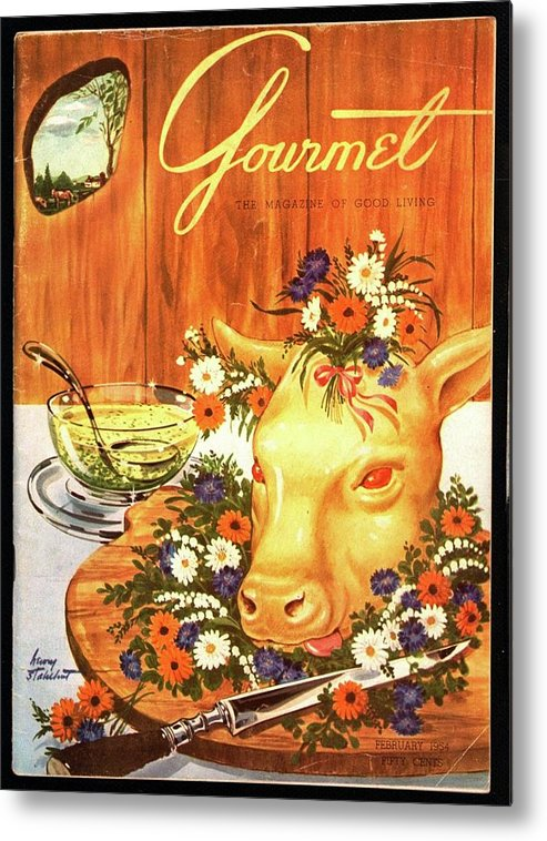 Food Metal Print featuring the photograph A Gourmet Cover Of Tete De Veau by Henry Stahlhut