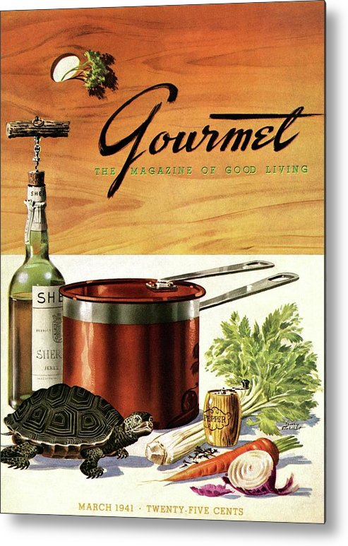 Illustration Metal Print featuring the photograph A Gourmet Cover Of Turtle Soup Ingredients by Henry Stahlhut