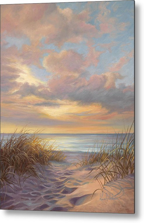 Beach Metal Print featuring the painting A Moment Of Tranquility by Lucie Bilodeau