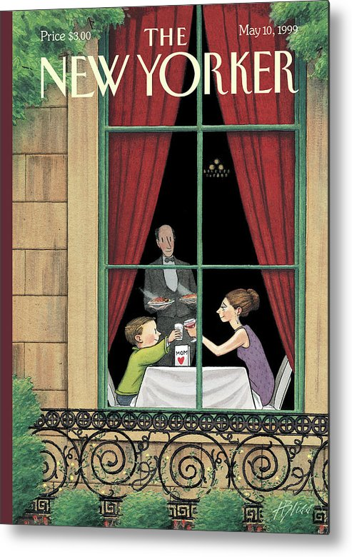 Here's To You Metal Print featuring the painting A Mother And Son Enjoy A Meal Together by Harry Bliss