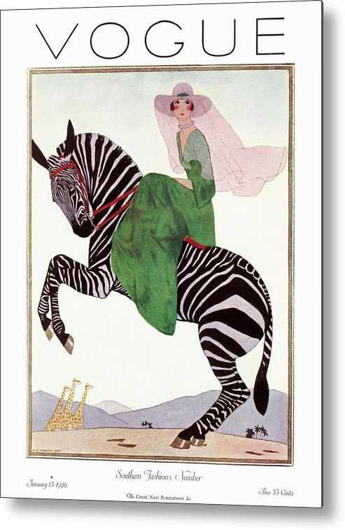 Illustration Metal Print featuring the photograph A Vintage Vogue Magazine Cover Of A Woman by Andre E. Marty