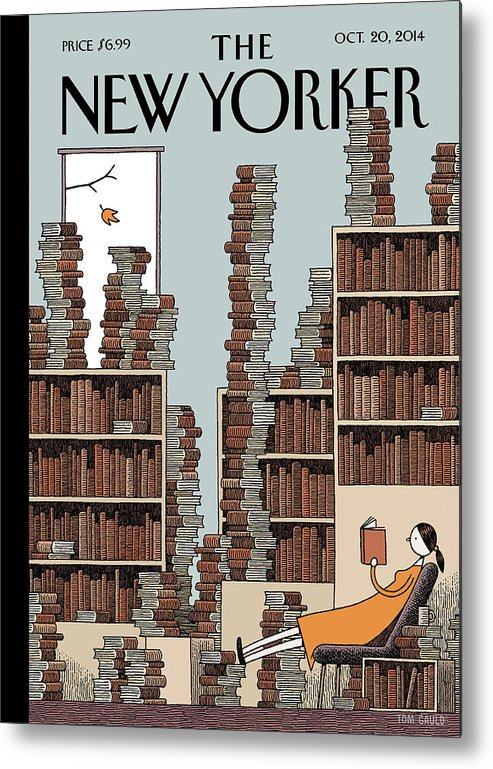 Books Metal Print featuring the painting Fall Library by Tom Gauld