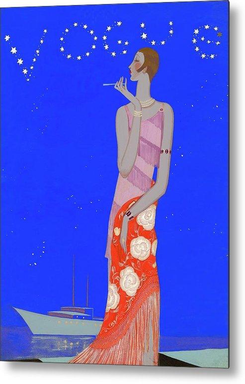 Fashion Metal Print featuring the digital art A Woman Wearing A Flapper Dress by Eduardo Garcia Benito