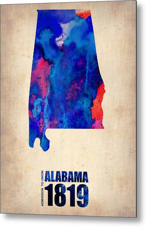 Alabama Metal Print featuring the digital art Alabama Watercolor Map by Naxart Studio