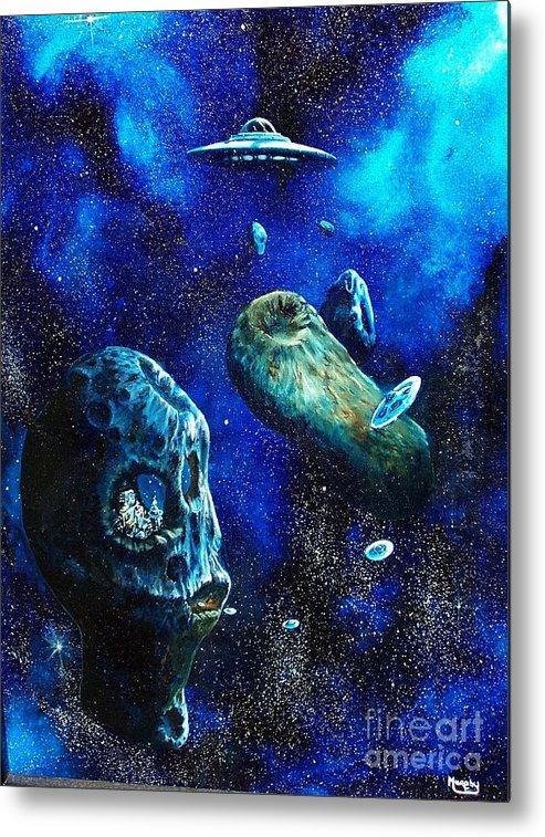 Space Metal Print featuring the painting Alien Space Hideout by Murphy Elliott