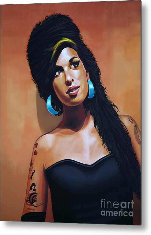 Amy Winehouse Metal Print featuring the painting Amy Winehouse by Paul Meijering