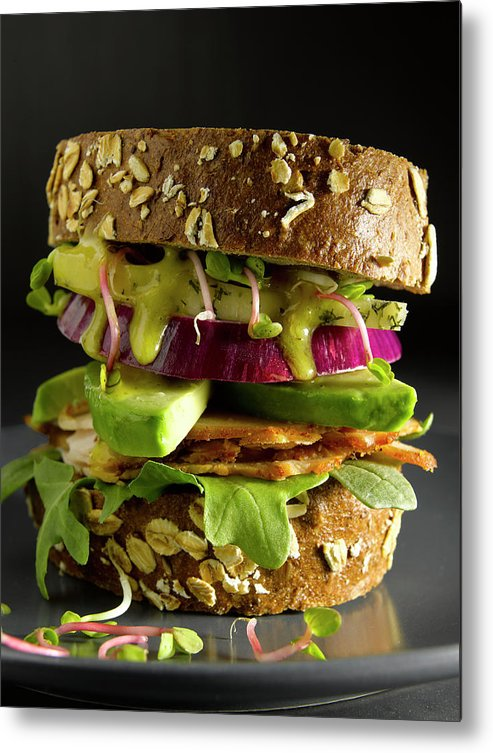 Avocado Metal Print featuring the photograph Avocado And Turkey Sandwich by Howard Bjornson