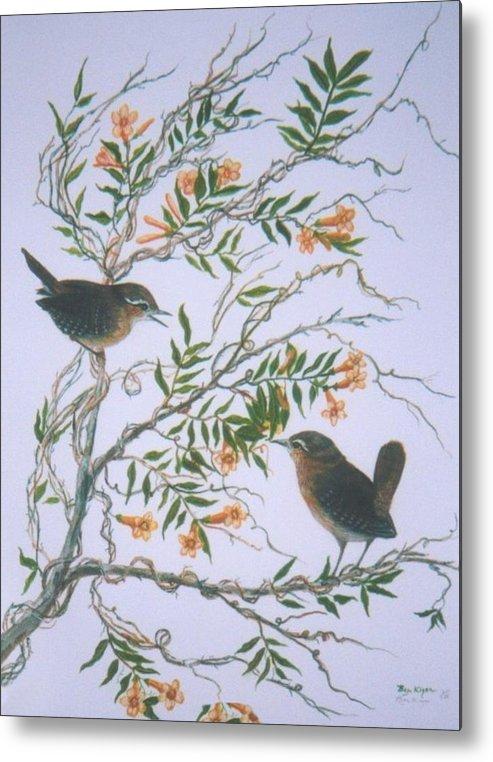 Bird; Flowers Metal Print featuring the painting Carolina Wren and jasmine by Ben Kiger