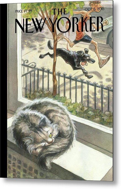 Cat Metal Print featuring the painting Catnap by Peter de Seve