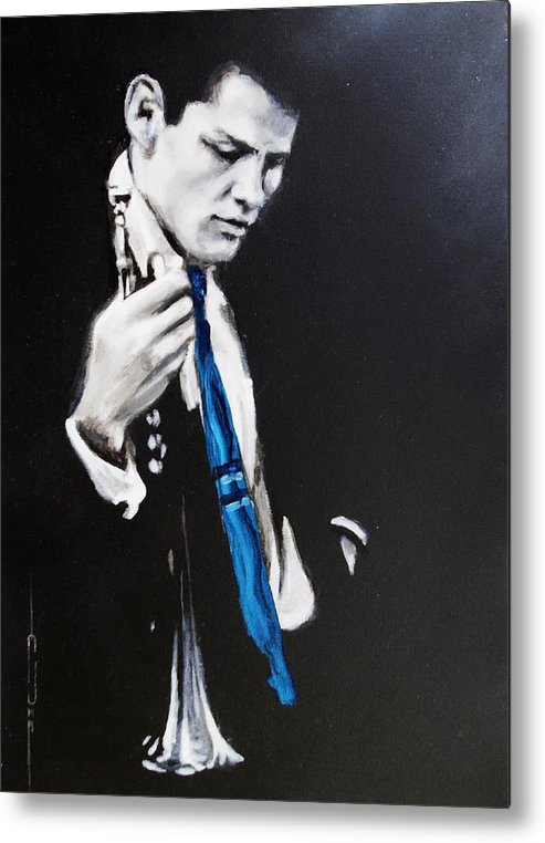 Chet Baker Metal Print featuring the painting Chet Baker - Almost Blue by Eric Dee