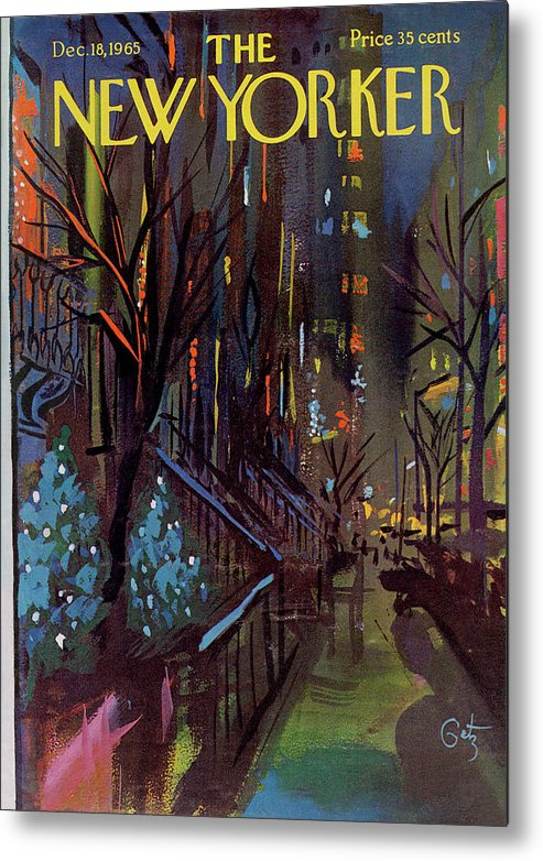 Christmas Metal Print featuring the painting Christmas In New York by Arthur Getz