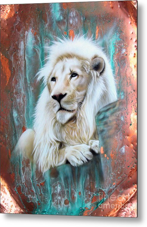 Copper Metal Print featuring the painting Copper White Lion by Sandi Baker