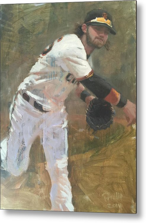 Brandon Crawford Metal Print featuring the painting Crawford Throw to First by Darren Kerr