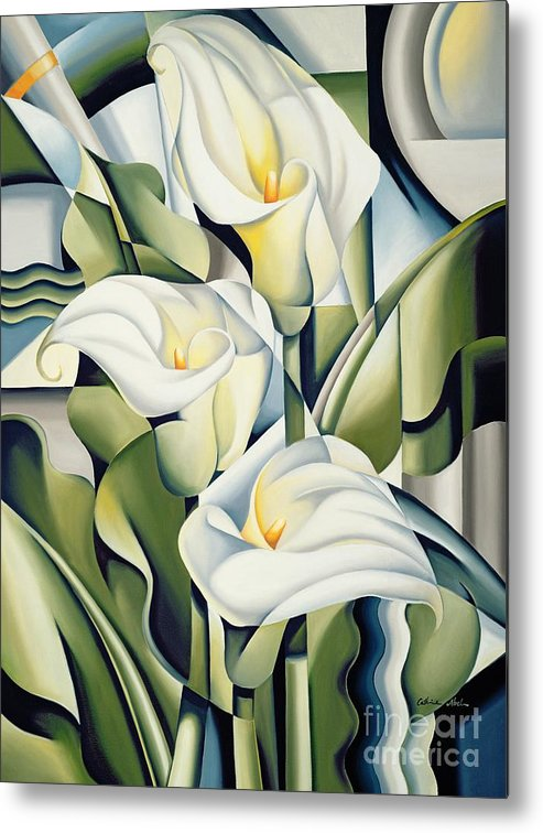 Cubist Metal Print featuring the painting Cubist lilies by Catherine Abel