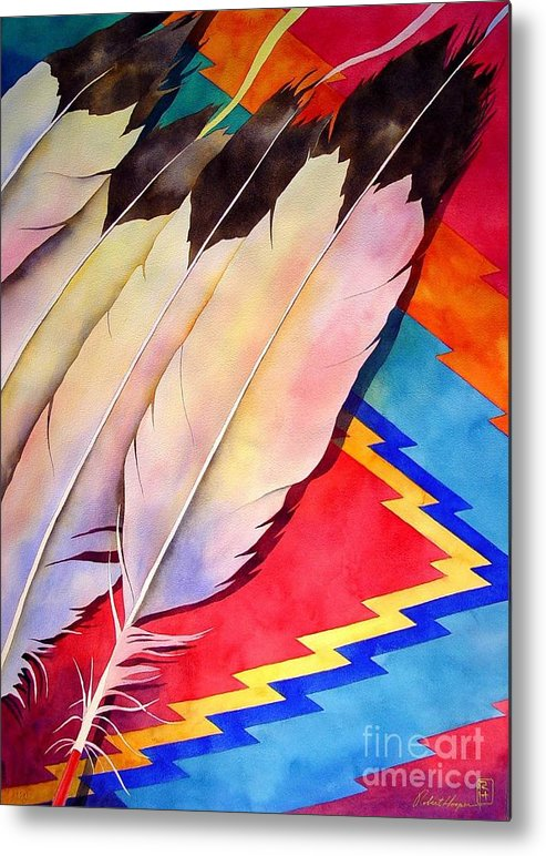 Watercolor Metal Print featuring the painting Dancer's Feathers by Robert Hooper