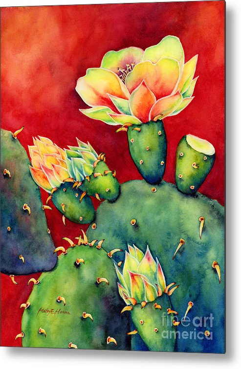 Cactus Metal Print featuring the painting Desert Bloom by Hailey E Herrera