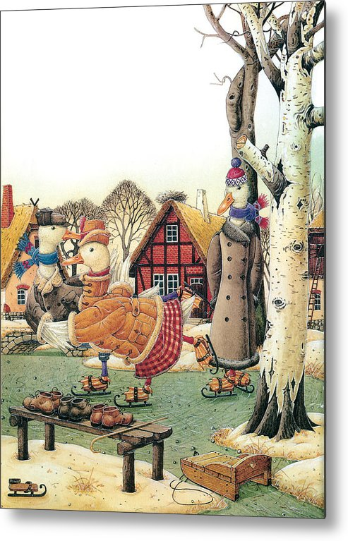 Christmas Winter Duck Greeting Cards Ice White Holiday Metal Print featuring the painting Ducks on Skates by Kestutis Kasparavicius