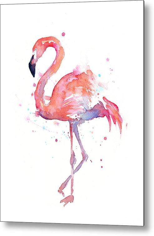 Bird Metal Print featuring the painting Flamingo Watercolor by Olga Shvartsur