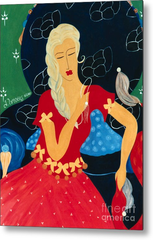 #female Metal Print featuring the painting For Savana by Jacquelinemari