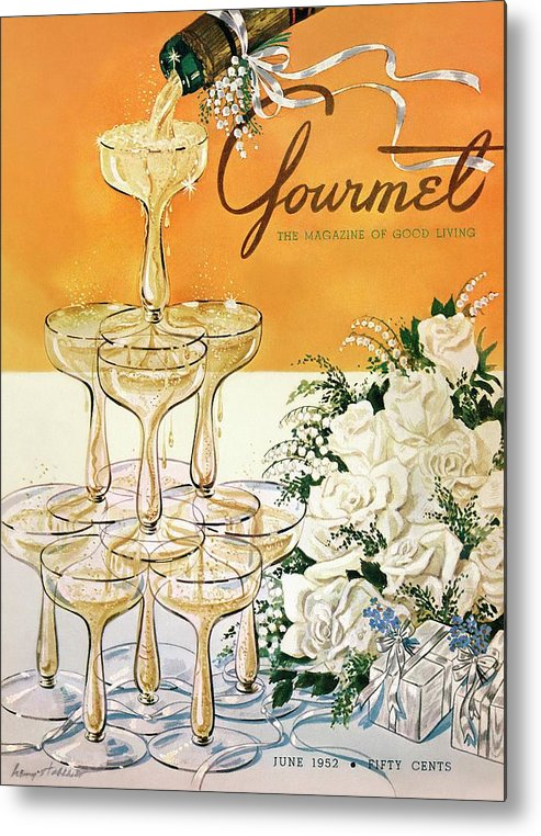 Entertainment Metal Print featuring the photograph Gourmet Cover Featuring A Pyramid Of Champagne by Henry Stahlhut
