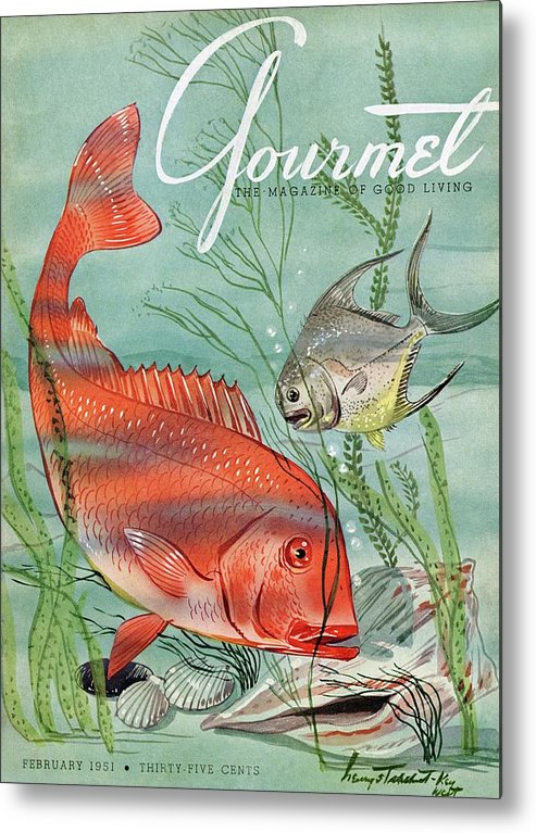 Illustration Metal Print featuring the photograph Gourmet Cover Featuring A Snapper And Pompano by Henry Stahlhut