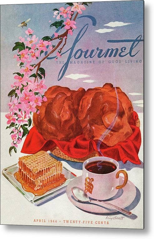 Food Metal Print featuring the photograph Gourmet Cover Illustration Of A Basket Of Popovers by Henry Stahlhut