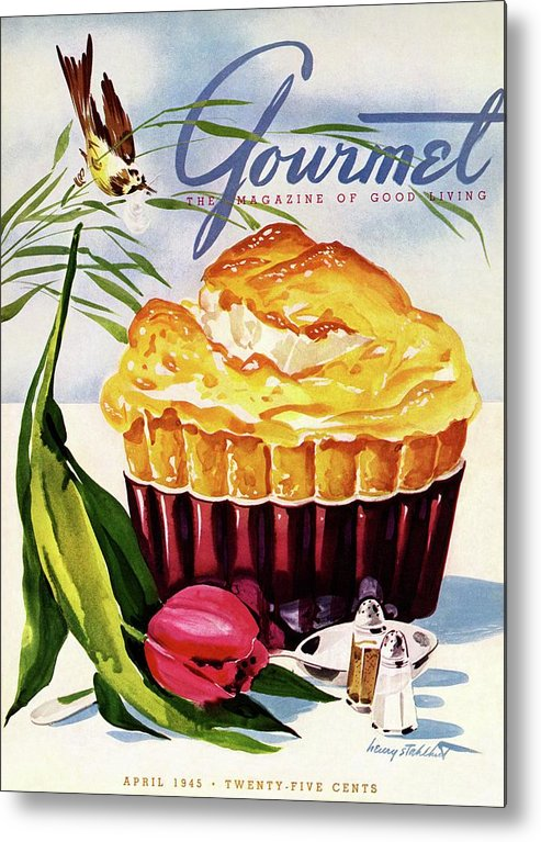 Illustration Metal Print featuring the photograph Gourmet Cover Illustration Of A Souffle And Tulip by Henry Stahlhut