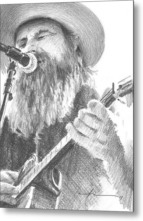 <a Href=http://miketheuer.com Target =_blank>www.miketheuer.com</a> Metal Print featuring the drawing Guitar Singer With Beard Pencil Portrait by Mike Theuer