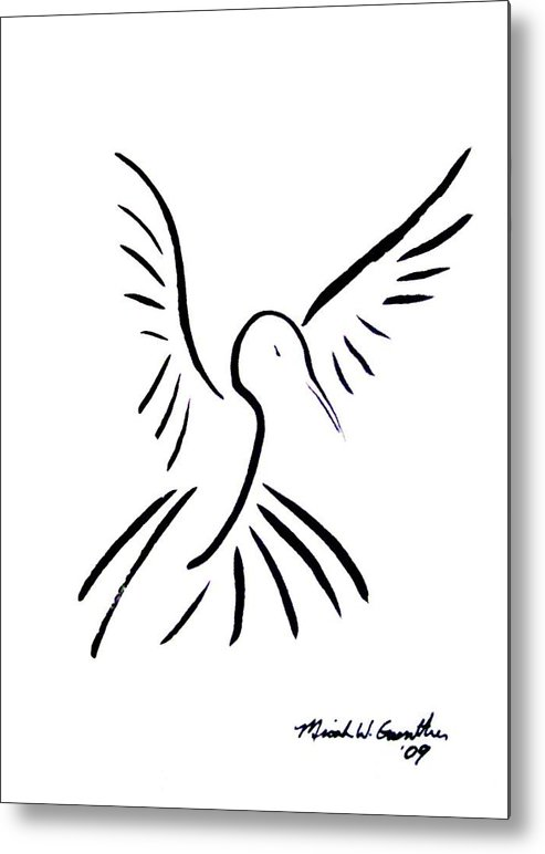 Bird Metal Print featuring the drawing Hummingbird by Micah Guenther