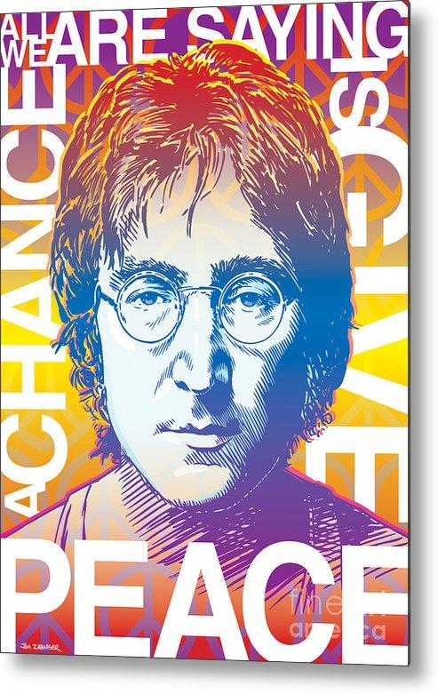 John Lennon Metal Print featuring the digital art John Lennon Pop Art by Jim Zahniser