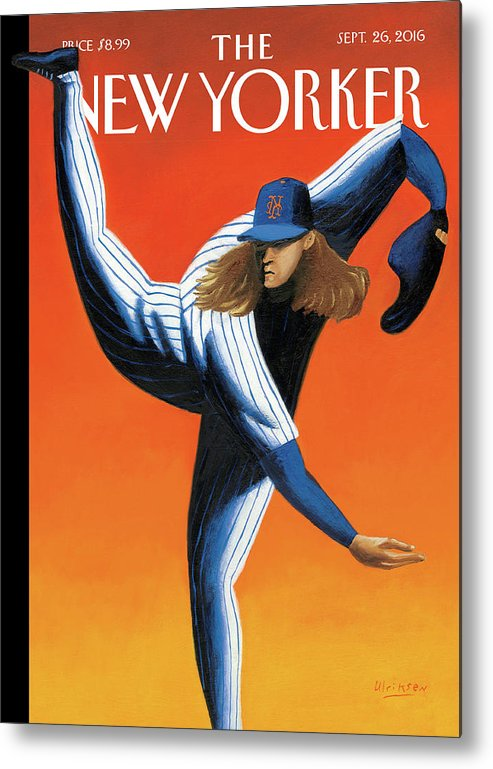 Mets Metal Print featuring the painting Late Innings by Mark Ulriksen