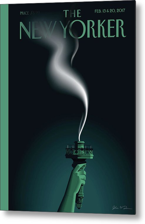 Statue Of Liberty Metal Print featuring the painting Liberty's Flameout by John W Tomac