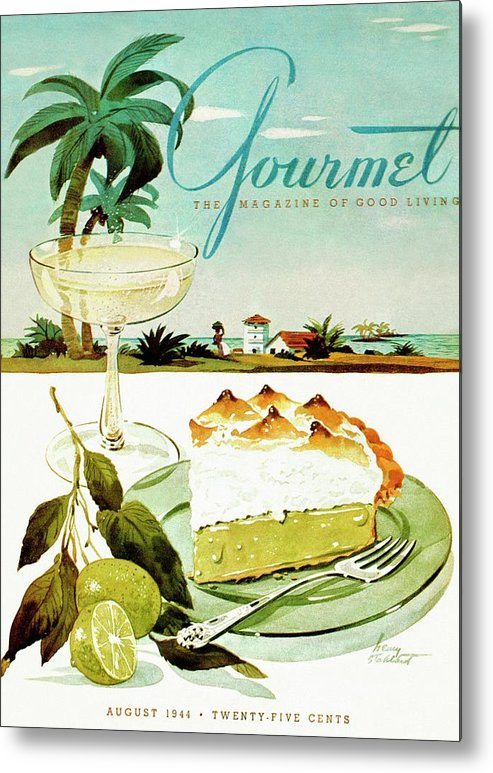 Food Metal Print featuring the photograph Lime Meringue Pie With Champagne by Henry Stahlhut