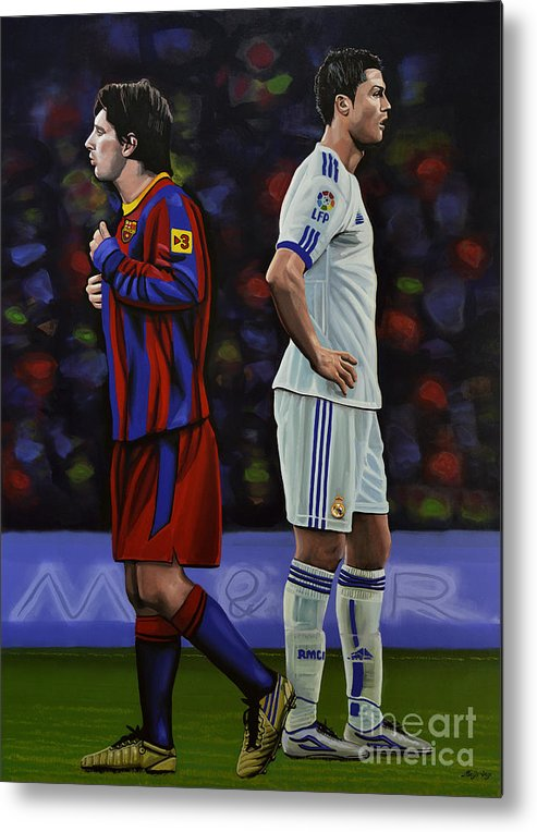 Lionel Messi Metal Print featuring the painting Lionel Messi and Cristiano Ronaldo by Paul Meijering