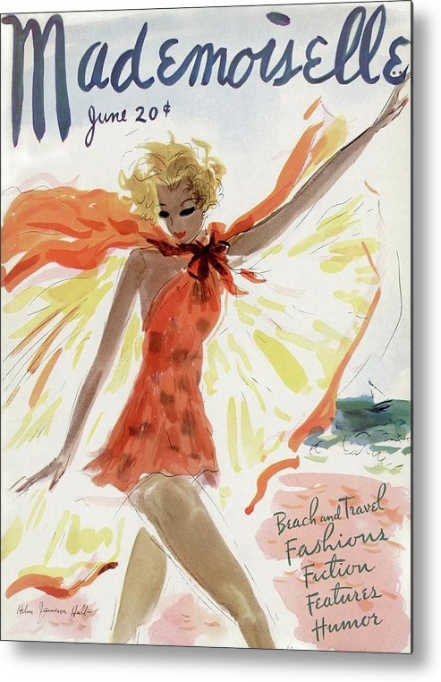 Illustration Metal Print featuring the painting Mademoiselle Cover Featuring A Model At The Beach by Helen Jameson Hall