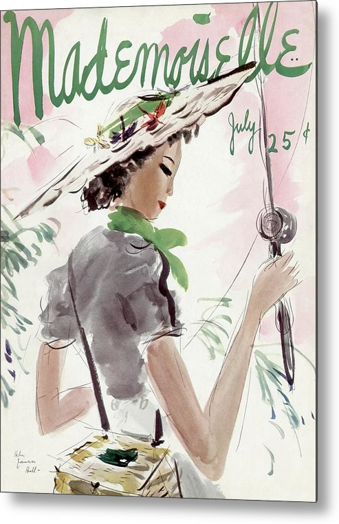 Illustration Metal Print featuring the photograph Mademoiselle Cover Featuring A Woman Holding by Helen Jameson Hall