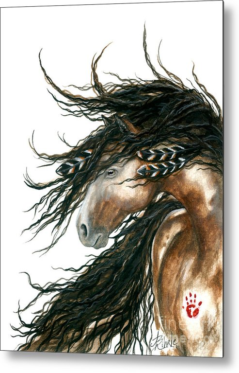 Horse Metal Print featuring the painting Majestic Pinto Horse 80 by AmyLyn Bihrle