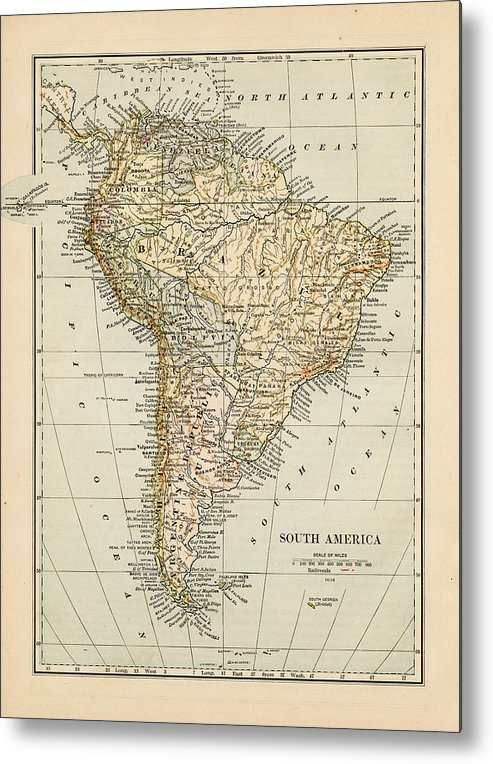 Burnt Metal Print featuring the photograph Map Of South America 1875 by Thepalmer