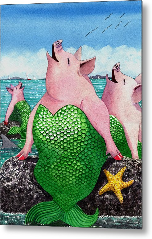 Mermaid Metal Print featuring the painting Merpigs by Catherine G McElroy