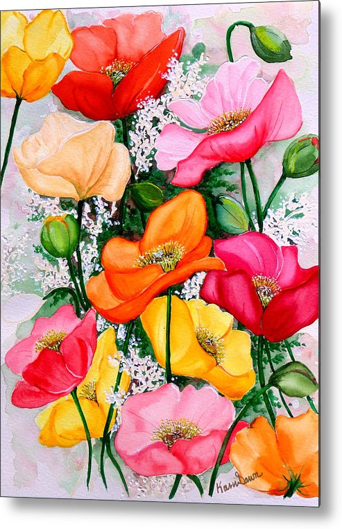 Poppies Metal Print featuring the painting Mixed Poppies by Karin Dawn Kelshall- Best