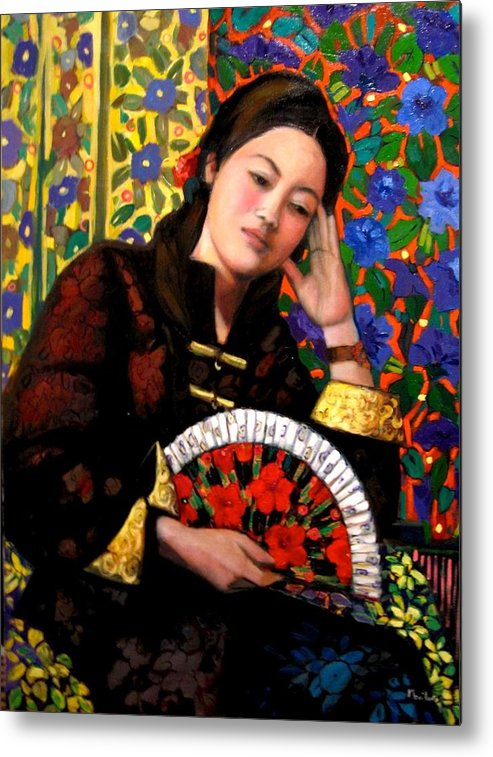 Portrait Metal Print featuring the painting My friend Hsiu by Marilene Sawaf