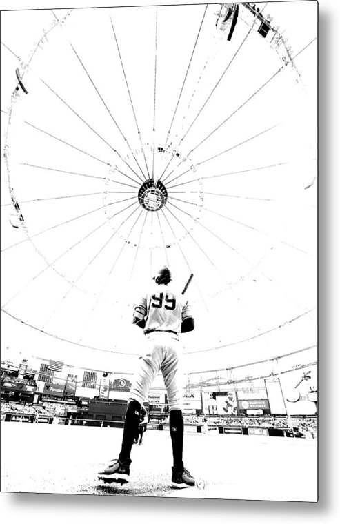 People Metal Print featuring the photograph New York Yankees v Tampa Bay Rays by Mike Ehrmann