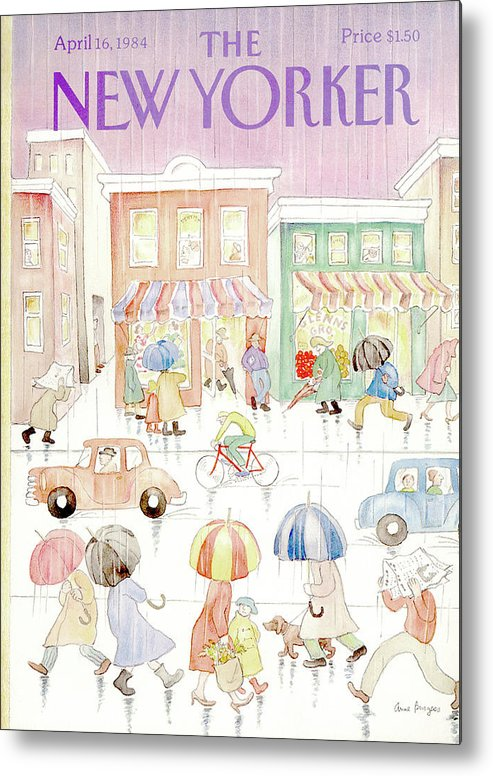 Rain Metal Print featuring the painting New Yorker April 16th, 1984 by Anne Burgess